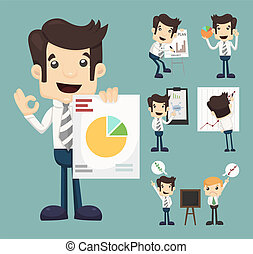 graphique, ensemble, présentation, caractères, homme affaires