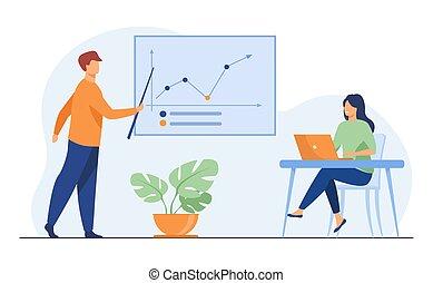 graphique, entraîneur, projection, croissance affaires, femme affaires