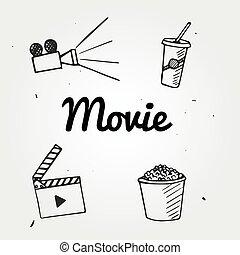 graphique, film, remettre ensemble, appareil photo, pop-corn, dessiné