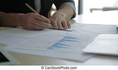 graphique financier, haut, diagramme, papier, dessinateur, fin, dessin