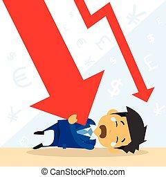 graphique, financier, homme affaires, bas, automne, crise, flèche rouge