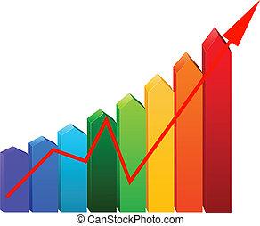 graphique, flèche, business
