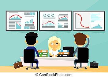 graphique, gens, finance, tendance, commerçants, business, financier, bas, crise, ordinateurs, bureau, automne, négatif, bureau