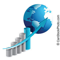 graphique, globe, business