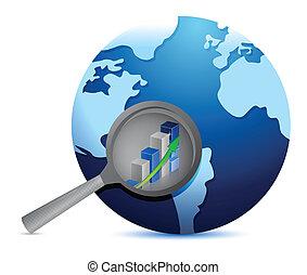 graphique, globe, projection, business, profite