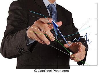 graphique, homme affaires, toucher, interface, pousser, écran, solution