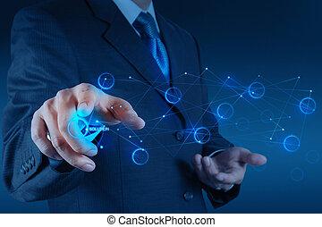 graphique, homme affaires, toucher, pousser, écran, main, solution
