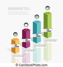 graphique, infographic, barre, 3d