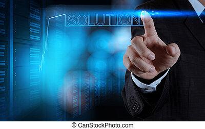 graphique, interf, homme affaires, toucher, pousser, écran, main, solution