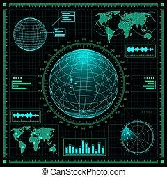graphique, interface, futuriste, utilisateur, ensemble, hud