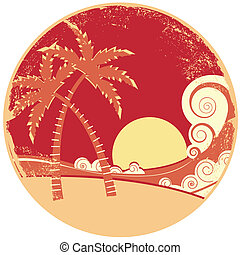 graphique, island., vendange, illustration, eau, vecteur, mer, vagues, marine
