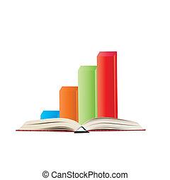 graphique, livre, barre, 3d
