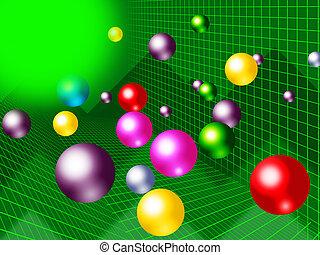 graphique, luminosité, coloré, fond, balles, spectacles, vert