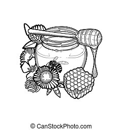 graphique, miel, bouteille, dripper, décoré, fleurs