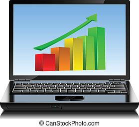 graphique, ordinateur portable, moderne, screen., up-growing