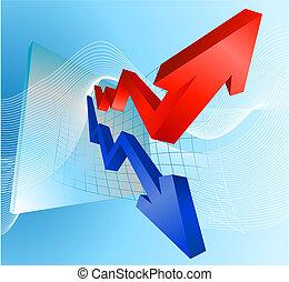 graphique, profit, illustration, flèches, perte