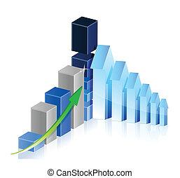 graphique, projection, flèches, profite, business