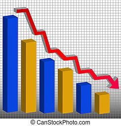 graphique, projection, profite, diminution