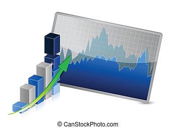 graphique, projection, stocks, business