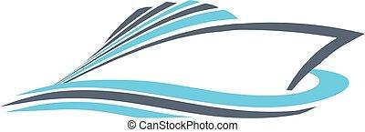 graphique, puissance, vecteur, conception, prompt, logo., bateau