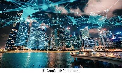 graphique réseau, ville, projection, connexion, imaginatif, visuel, numérique, résumé, globalisation, intelligent