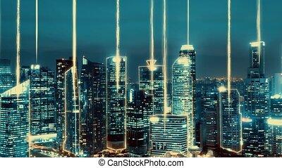 graphique réseau, ville, projection, connexion, numérique, résumé, globalisation, intelligent