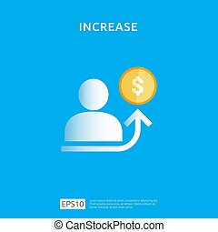graphique, retour, marge, increase., taux, finance, revenu, flèche, plat, concept, roi, style, vecteur, croissance, performance, illustration affaires, diagramme, revenue., salaire, investissement, element., conception