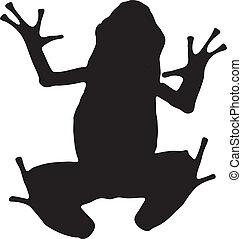 graphique, silhouette, poison, dard, vecteur, frog., azur