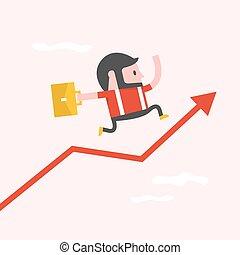 graphique, simple, chart., courant, homme affaires, dessin animé