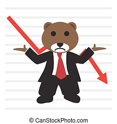 graphique, stockage, ours, costume, bearish, marché, usure, devant