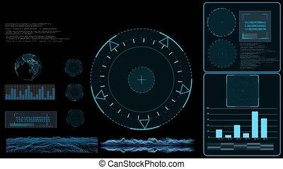 graphique, surface, radar, enquêter, analyse, données, technologie, graphique, moniteur, barre, carte, la terre, numérique