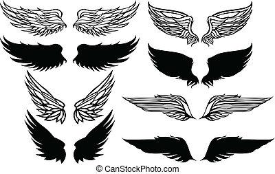 graphique, vecteur, ensemble, ailes