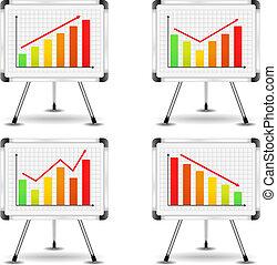 graphiques, différent, barre, chiquenaude, diagrammes