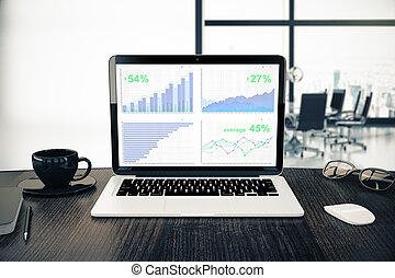 graphiques, ordinateur portable, business