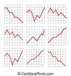 graphiques, projection, ligne, performance, business, ventes