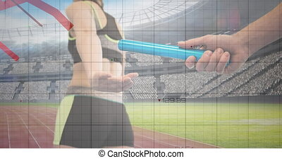 graphiques, sports, silhouette, réseau, en mouvement, main, grille, sur, dépassement, champ, bâton, rouges, contre