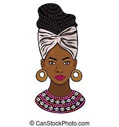 graphiques, vecteur, arrière-plan., portrait, isolé, blanc, africaine, princesse