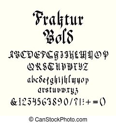 gras, vendange, illustration, vecteur, gothique, police