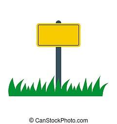 grass., jaune, trafic, rue, vide, route, vide, signe., icon., signe, vecteur, plaque