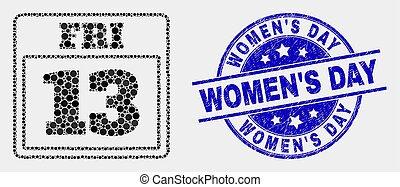 gratté, 13, pointillé, vendredi, femmes, vecteur, cachet, calendrier, page, jour, icône