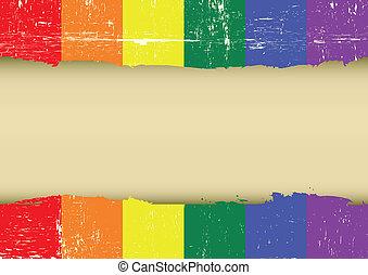 gratté, arc-en-ciel, drapeau, gay