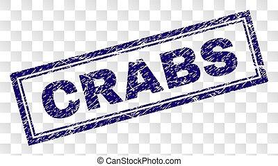 gratté, crabes, rectangle, timbre