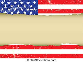 gratté, drapeau, nous
