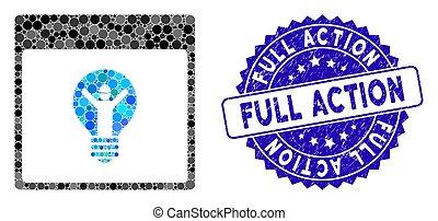 gratté, icône, action, calendrier, timbre, collage, électricien, page, entiers