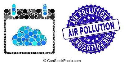gratté, jour, icône, calendrier, nuage, pollution, timbre, collage, air