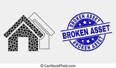 gratté, pointillé, maisons, cassé, vecteur, bien, cachet, icône