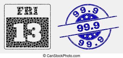 gratté, pointillé, timbre, vendredi, 13e, vecteur, 99.9, cachet, calendrier, icône page