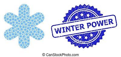 gratté, recursive, icône, cachet, timbre, puissance, hiver, simple, composition, flocon de neige