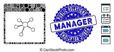 gratté, relations, page, public, icône, collage, timbre, directeur, liens, calendrier