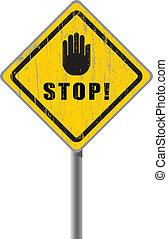 gratté, signe., arrêt, route